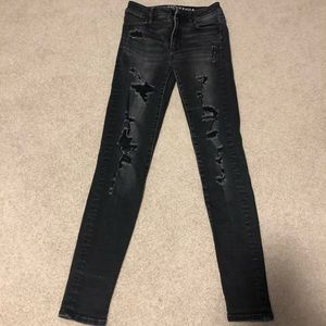 American eagle black ripped skinny jeans